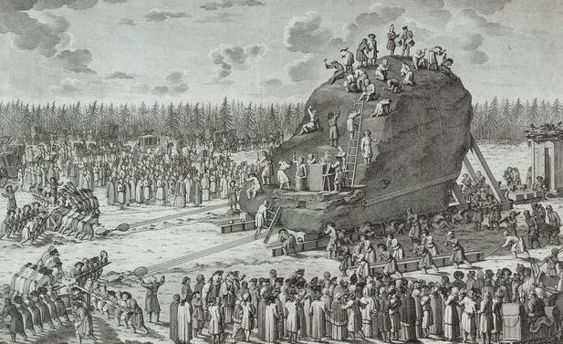 Транспортировка основания для Медного всадника